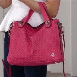 orYANY Embossed Pink Woven Kaley Leather Satchel
